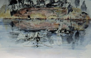 Foley Mountain Pond, 22 x 30 in, watercolour and ink