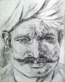 Handsome Rajput, pencil sketch, 4 x 3 in