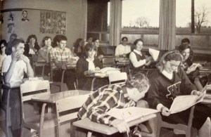 Warwick High School seniors in civics class, 1966