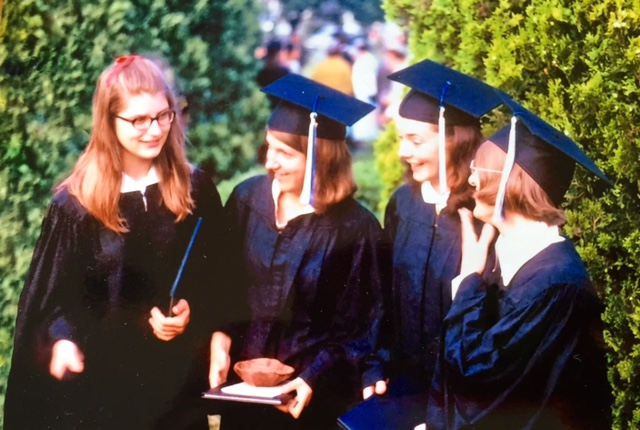 Tina, Mary, me, Gloria. Graduation Day, 1970.