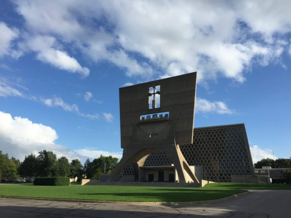 St. John's Abbey Church, designed by Marcel Breuer, in a beautiful Minnesota sky. The bells reverberate all over campus.