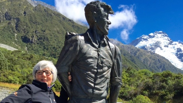 This photo, taken at the Sir Edmund HILLARY Museum at Mt. Cook, New Zealand, last February, was the germ of the idea to write a letter to Hillary.