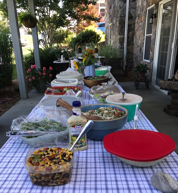 A backyard potluck meal squeezed in between presentations. So delicious and beautiful.