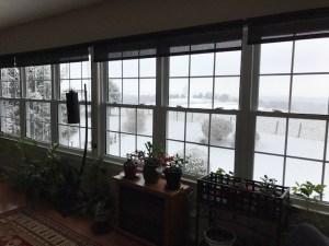Snow through the windows.