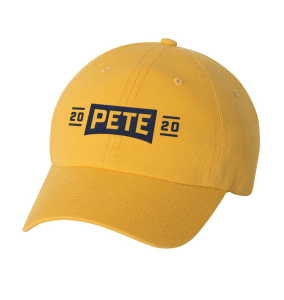 Screen shot from the campaign website store: https://store.peteforamerica.com/collections/gear/products/pete-2020-embroidered-hat