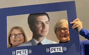 Carol Bodensteiner joins Mayor Pete and me at the base camp before the Nov. 1 rally and LJC Dinner.