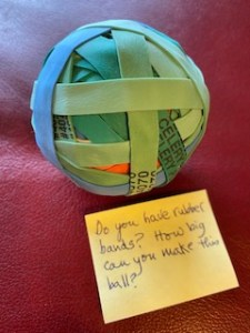 The 3-inch rubber ball before it goes into the Care Package.