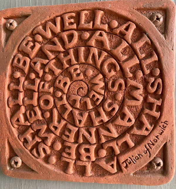 All Shall Be Well Quotation ceramic labyrinth. Hanging outside our front door.