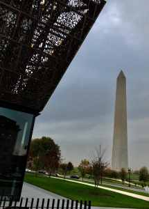 The Washington Monument as seen from under the Museum of African American HistoryThe