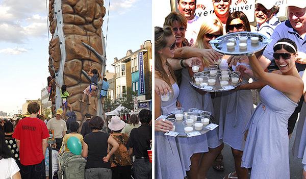 Taste of Danforth Festival - (左图) 小孩可玩户外爬山 (右图) 希腊美女请你吃希腊美食