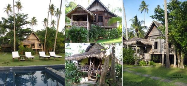 Bonton Resort 内的泳池和传统马来高脚屋 (Langkawi, Malaysia)