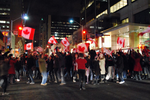 Olympics Hockey 'Golden Night' in Yonge Street, Toronto