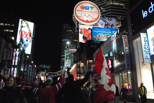 Olympics Hockey 'Golden Night' in Dundas Square, Toronto