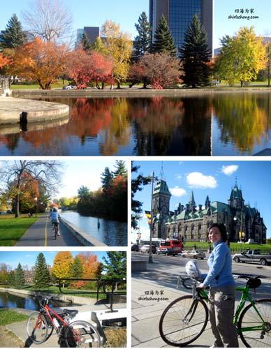 沿着丽都运河 (Rideau Canal) 骑脚踏车 (加拿大渥太华, Ottawa Canada)