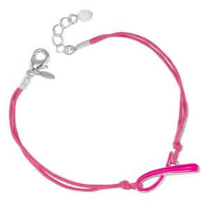 Breast Cancer Crusade Ribbon Cord Bracelet