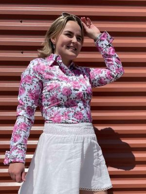 Bloemen blouse roze