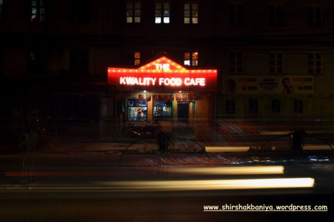 Lighting at the entrance door of kwality food cafe at Tripureshow, Kathmandu, Nepal during the Night time