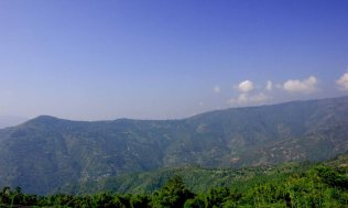 Panoramic view of hill station from view desk.