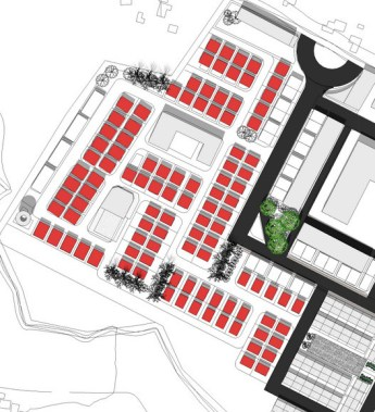 Mid term: Detached housing zone with large supermarket with no open space