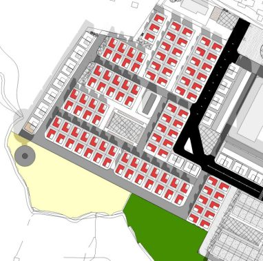 prefinal: Detached housing zone with small supermarket with central open space