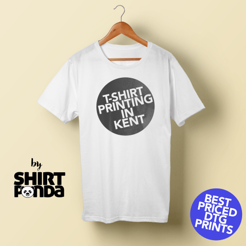 White T-Shirt printed with the words T-Shirt Printing in Kent