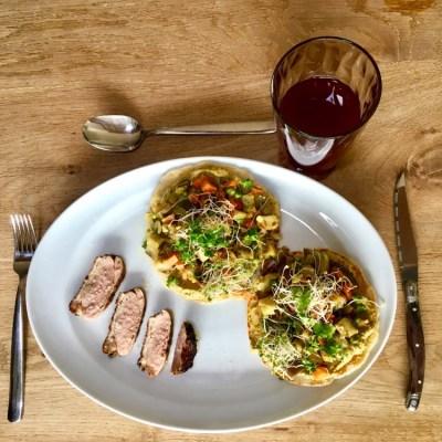 Paleo naan met aubergine en eend