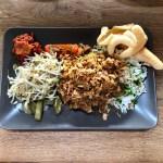 Rijsttafel met stoofschotel (restproduct bouillon)
