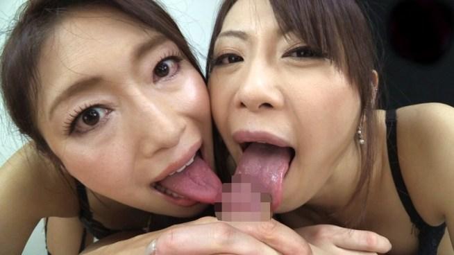 小早川怜子・広瀬奈々美の舌出しフェラ (3)