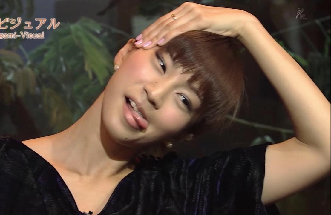 安田美沙子の顔ヨガ舌出し (1)