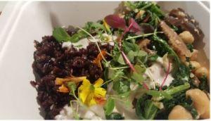 Sweet potato and green rice Burrito bowl