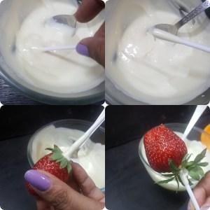 making of Valentine's Strawberry Bouquet