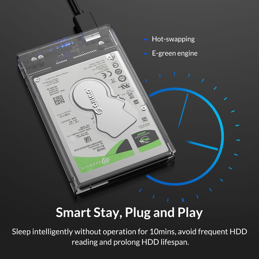 orico transparent hard drive enclosure with stand 7