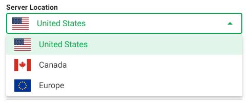 Select Server Location