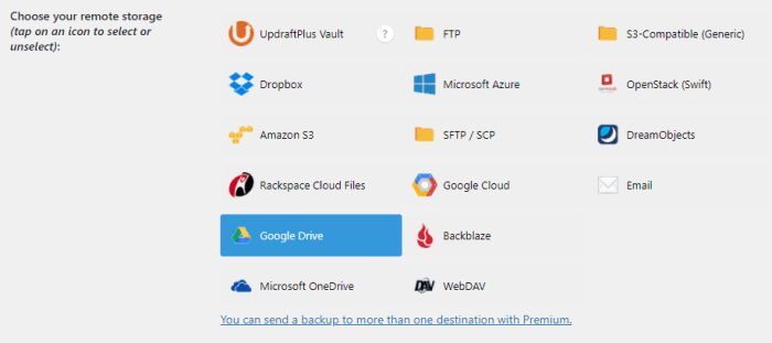 Select your remote storage