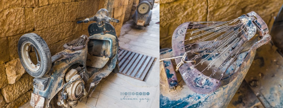 Old Vespa scooter inside jaisalmer fort