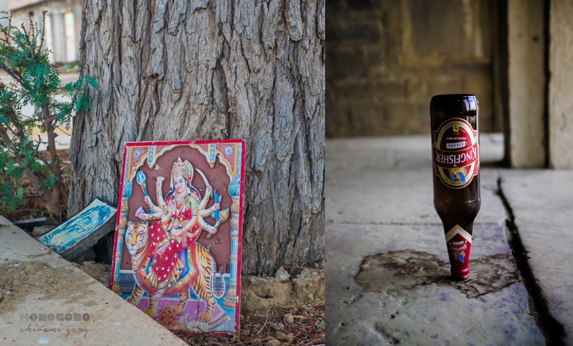 contrasting pictures taken at the lake in Jaisalmer - one depicts religion and the other alcohol