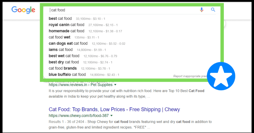 Keyword recommendations by Google in search box.