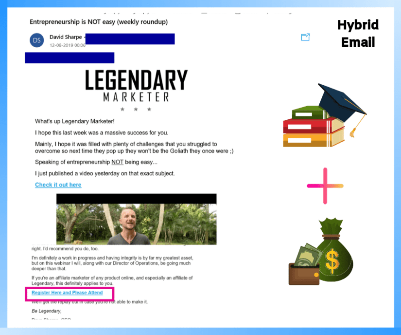 An example of a hybrid email.