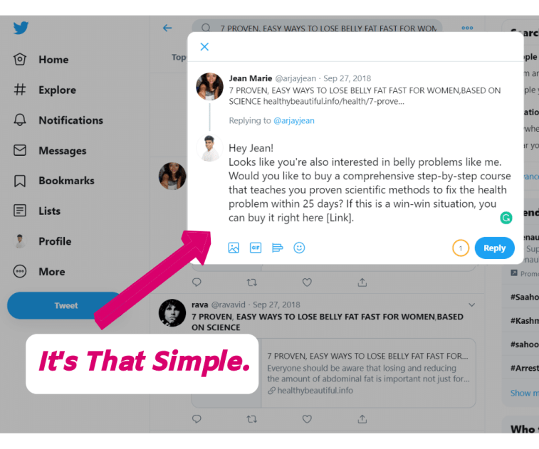Messaging people on twitter to create a product for affiliate marketing program.