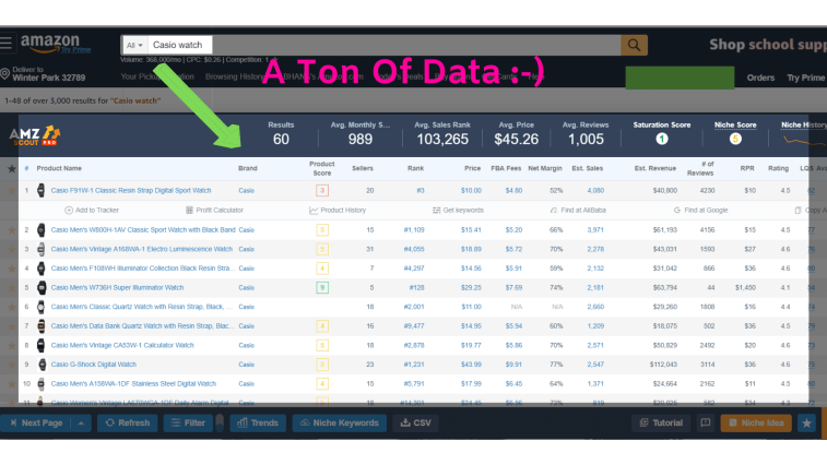 Reports shown by AMZScout tool for a search term.