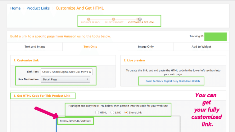 Generating affiliate links at Amazon Associates Central.