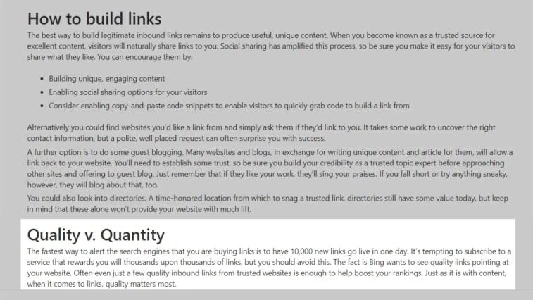 Quality Vs. Quantity of backlinks by BIng.