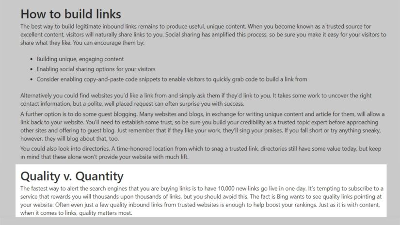 Quality Vs. Quantity of backlinks by BIng.