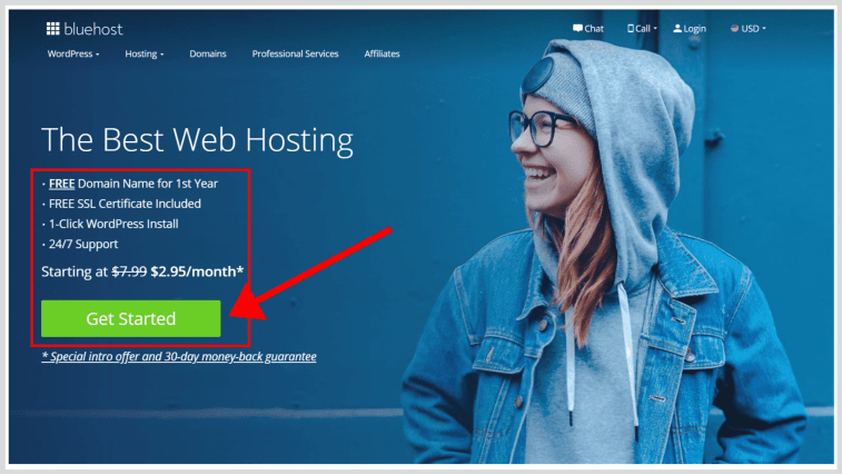 How to successfully start a blog: Choose Bluehost as a web hosting.