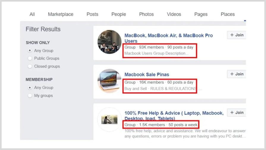 Facebook groups.