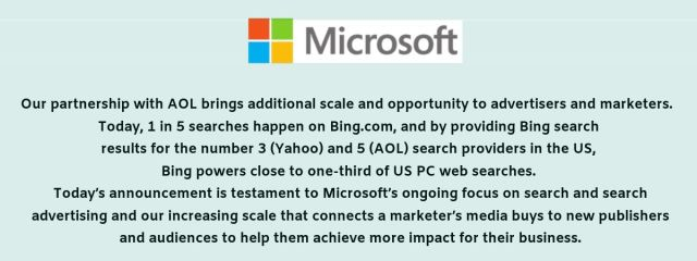 Microsoft's Bing and Yahoo deal in 2009.