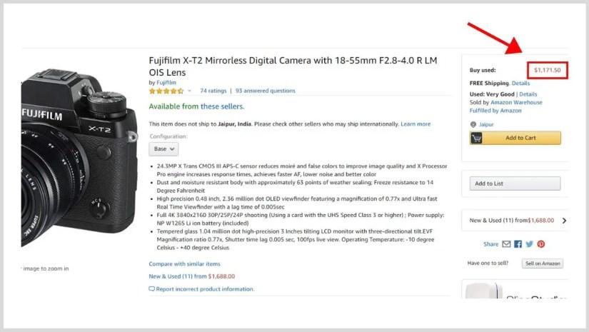 High ticket camera on Amazon.