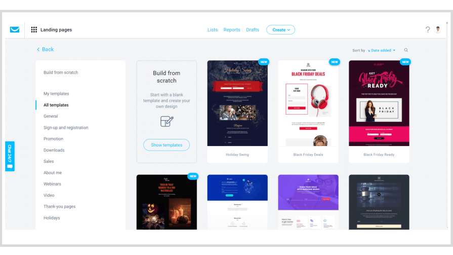 How to create landing pages from GetResponse template gallery.