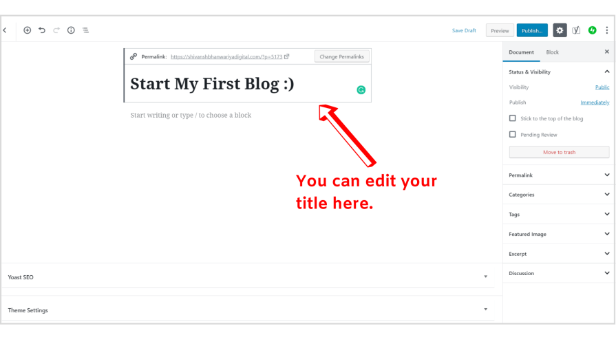 WordPress editor introduction.