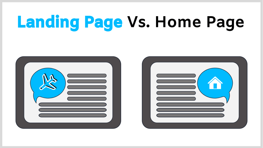 The difference between a landing page and a home page.